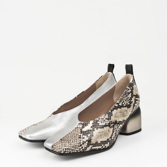 Zapato Serpiente Blanca Plata 34