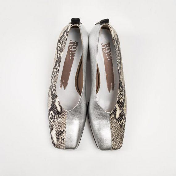 Zapato Serpiente Blanca Plata sup