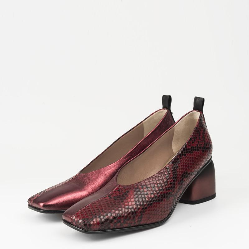Zapato Serpiente Roja Metalizado Rojo 34